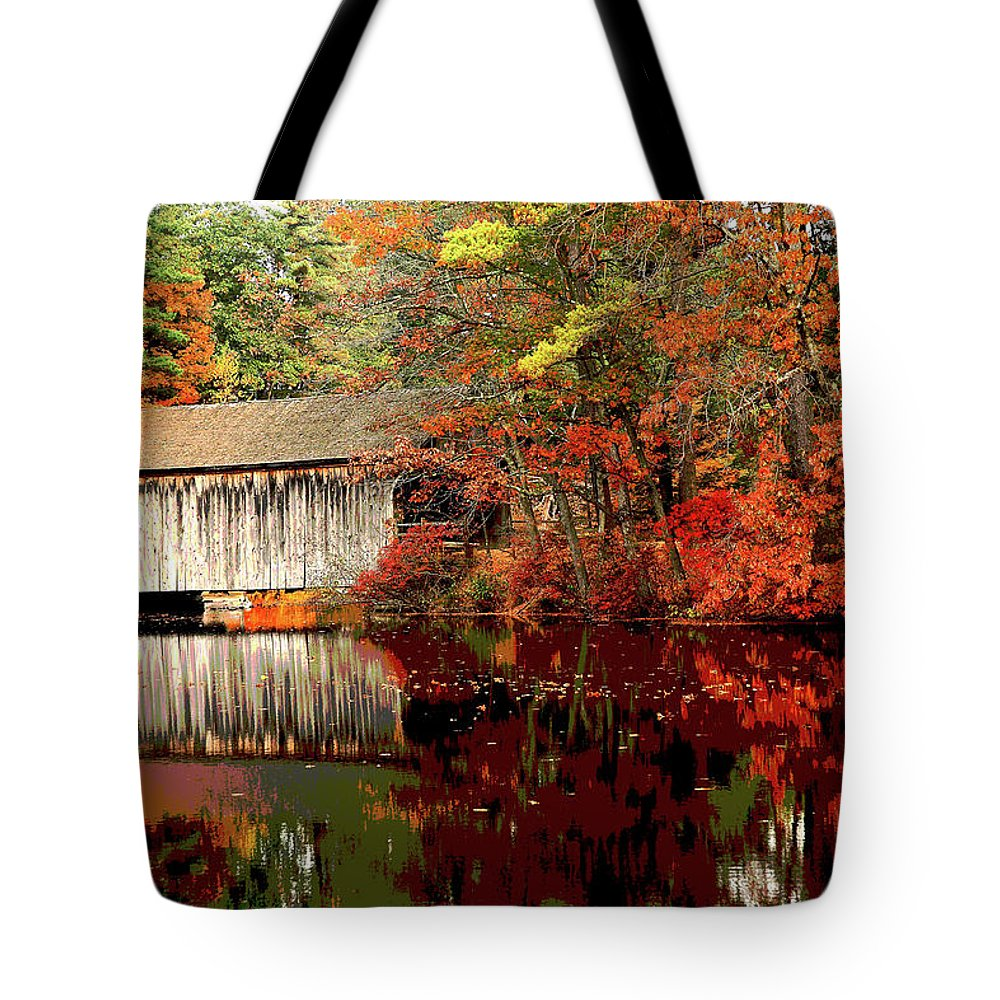 America Tote Bag featuring the mixed media Covered Bridge by Charles Shoup