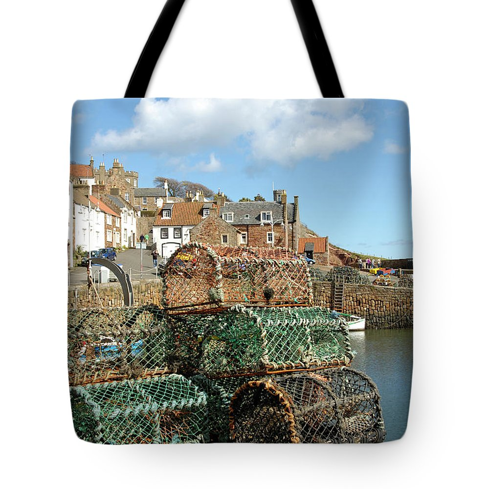 Crail Harbour Tote Bag featuring the photograph Crail Harbour And Lobster Pots by Victor Lord Denovan