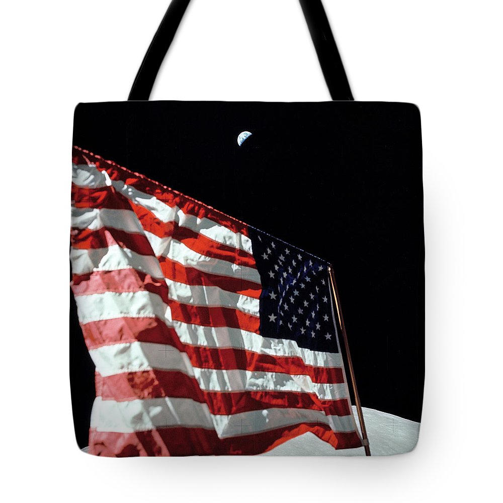 Crescent Tote Bag featuring the photograph Crescent Earth And The American Flag by Nasa