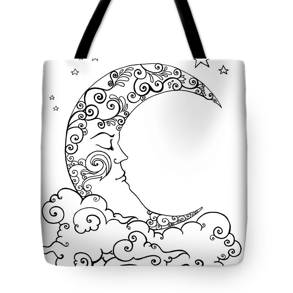 Crescent Moon Dreams Line Art Tote Bag For Sale By Katherine Nutt