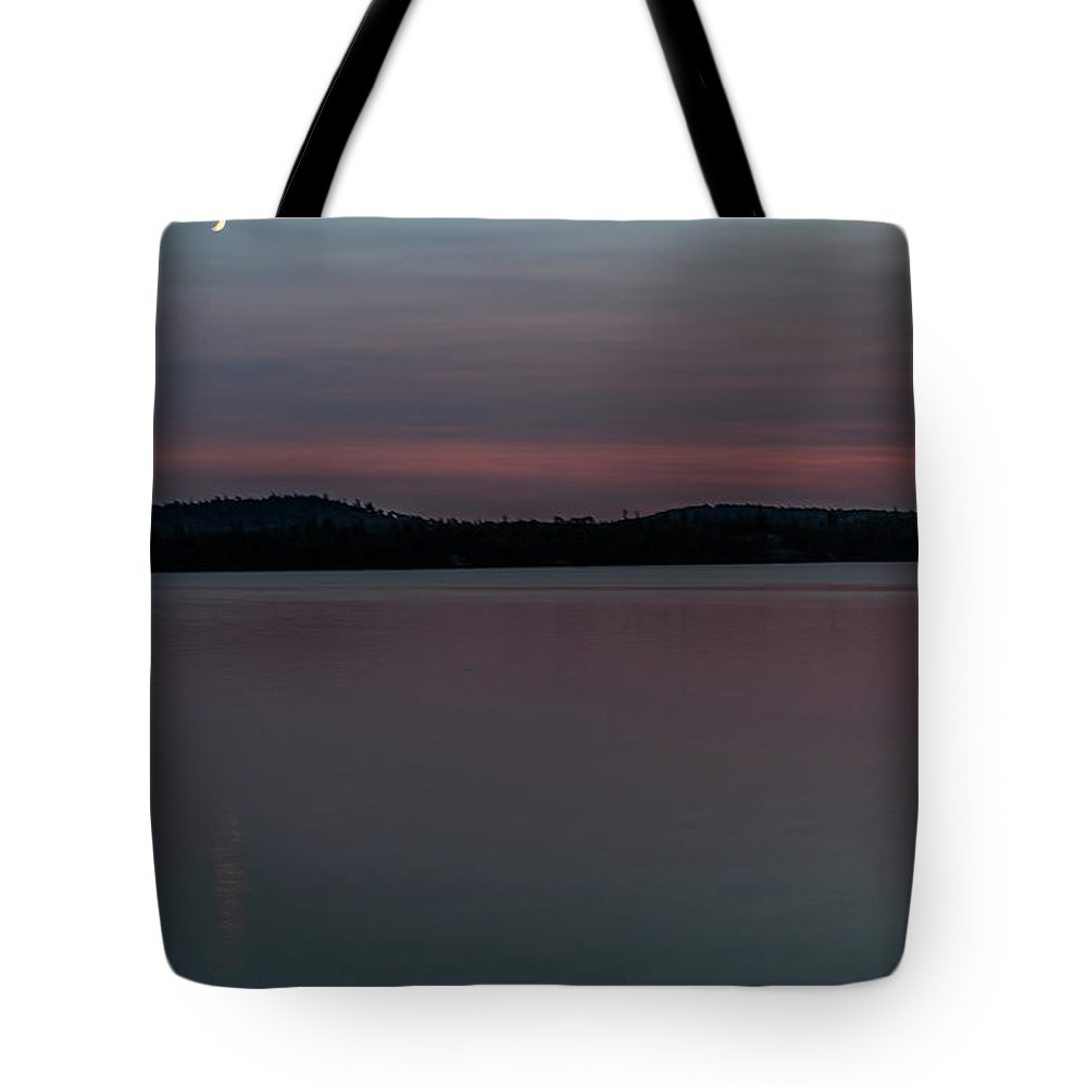 Dog Lake Tote Bag featuring the photograph Crescent Moon Over Dog Lake by Joe Holley