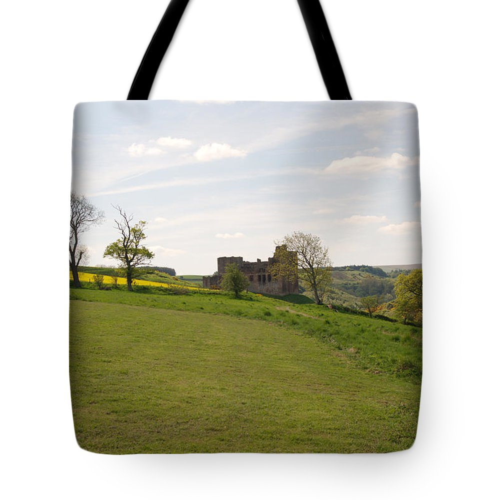 Castle Tote Bag featuring the photograph Crighton Castle Ruins And Hills, Midlothian by Victor Lord Denovan