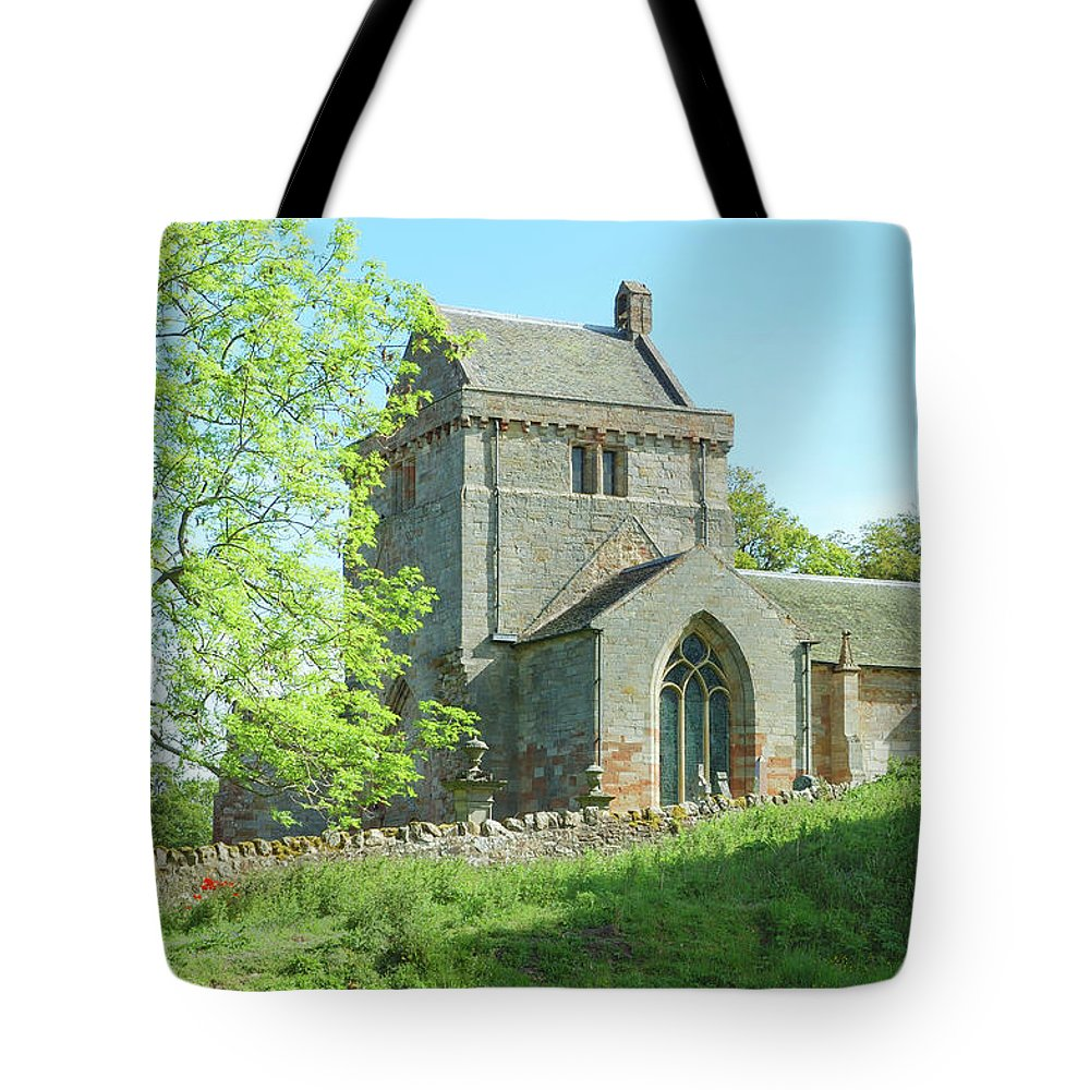 Tower Tote Bag featuring the photograph Crighton Historic Church by Victor Lord Denovan