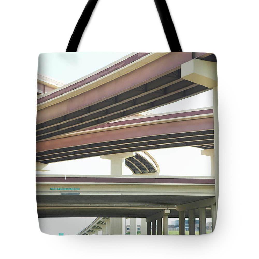 Crisscross Tote Bag featuring the photograph Crisscrossing Freeway Overpasses by Siri Stafford