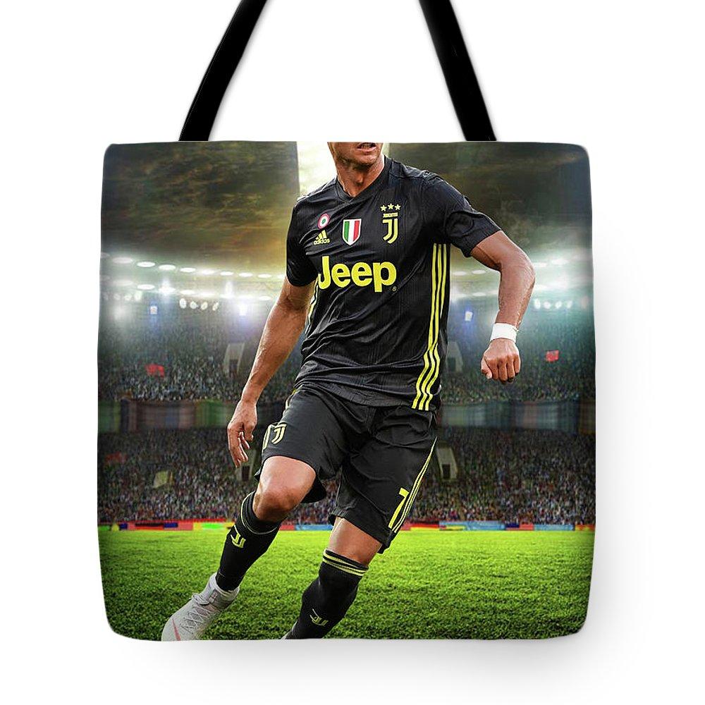 new york be09d 76344 Cristiano Ronaldo Juventus Black Jersey Tote Bag