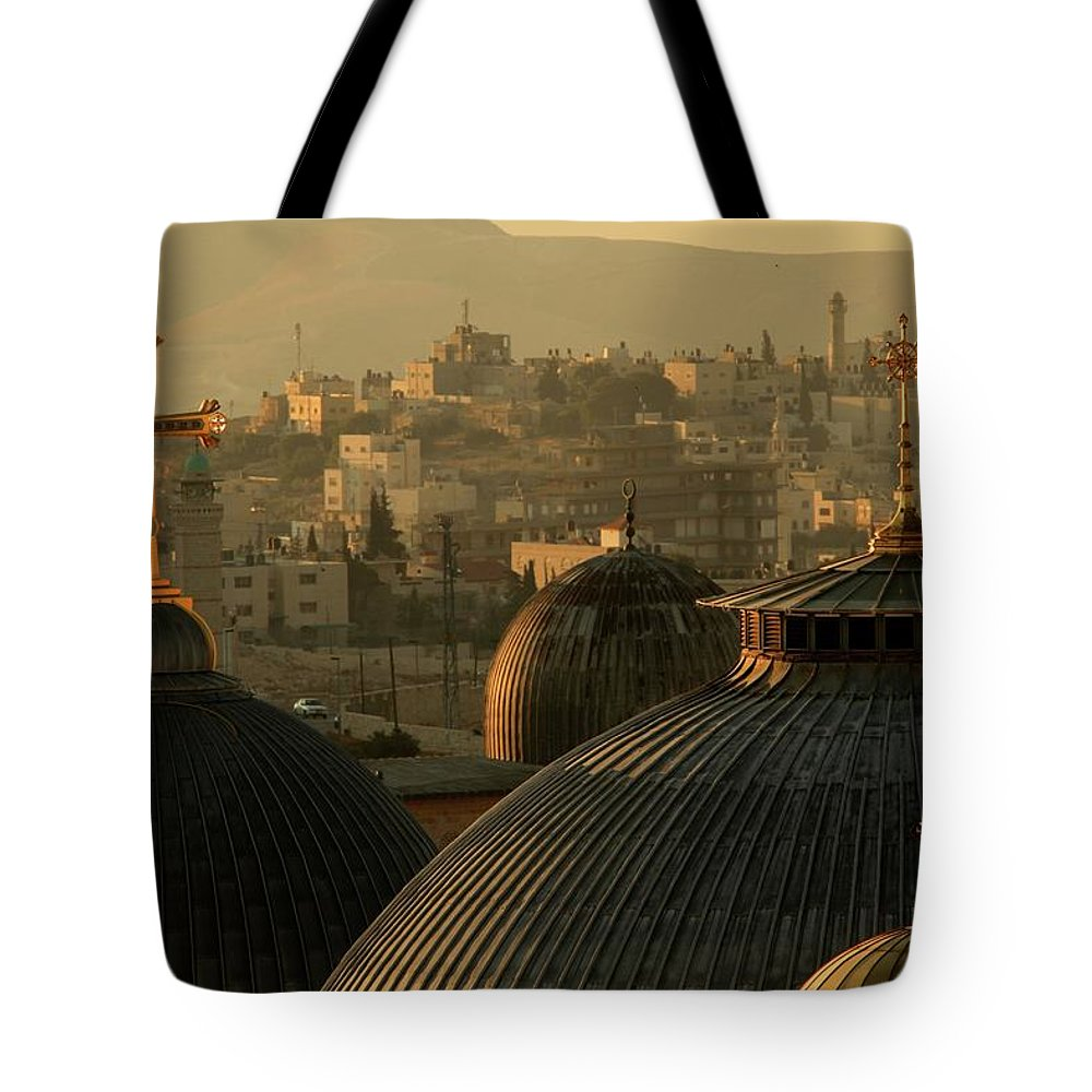 West Bank Tote Bag featuring the photograph Crosses And Domes In The Holy City Of by Picturejohn