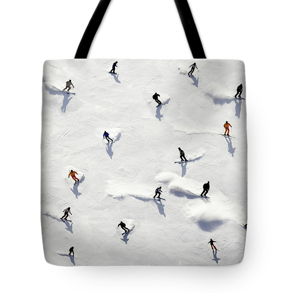 Skiing Tote Bag featuring the photograph Crowded Holiday by Mistikas