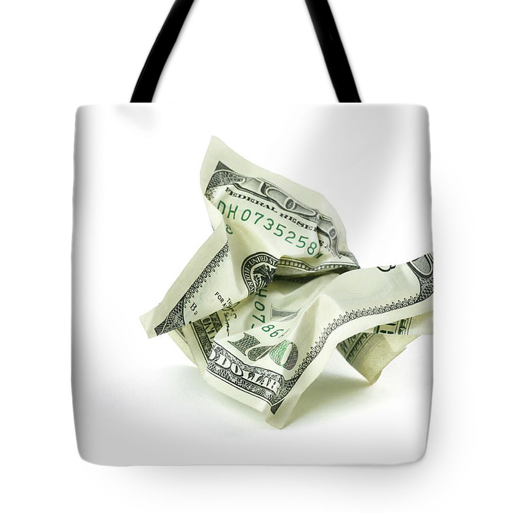 Debt Tote Bag featuring the photograph Crumpled Money With Clipping Path by Georgepeters