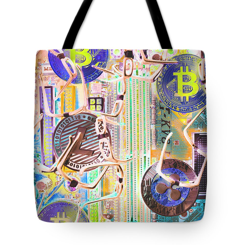 Blockchain Tote Bag featuring the photograph Cryptocurrency Circuitry by Jorgo Photography - Wall Art Gallery