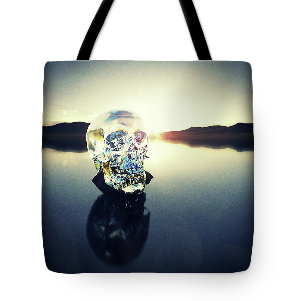 Art Tote Bag featuring the photograph Crystal Skull Laying On Rock In Lake by Doug Armand