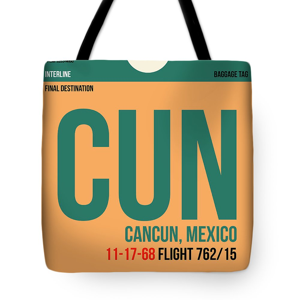 Vacation Tote Bag featuring the digital art CUN Cuncun Luggage Tag I by Naxart Studio