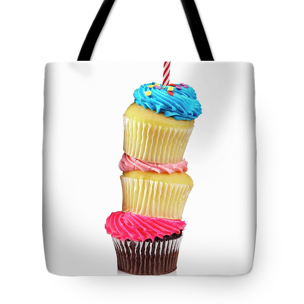 Unhealthy Eating Tote Bag featuring the photograph Cupcakes In A Stack by Lew Robertson