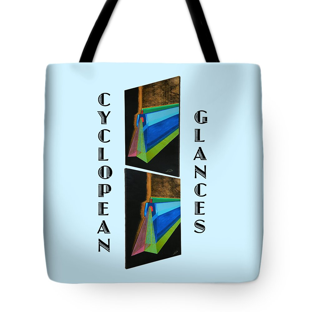 Art Tote Bag featuring the painting Cyclopean Glances Hermite by Michael Bellon