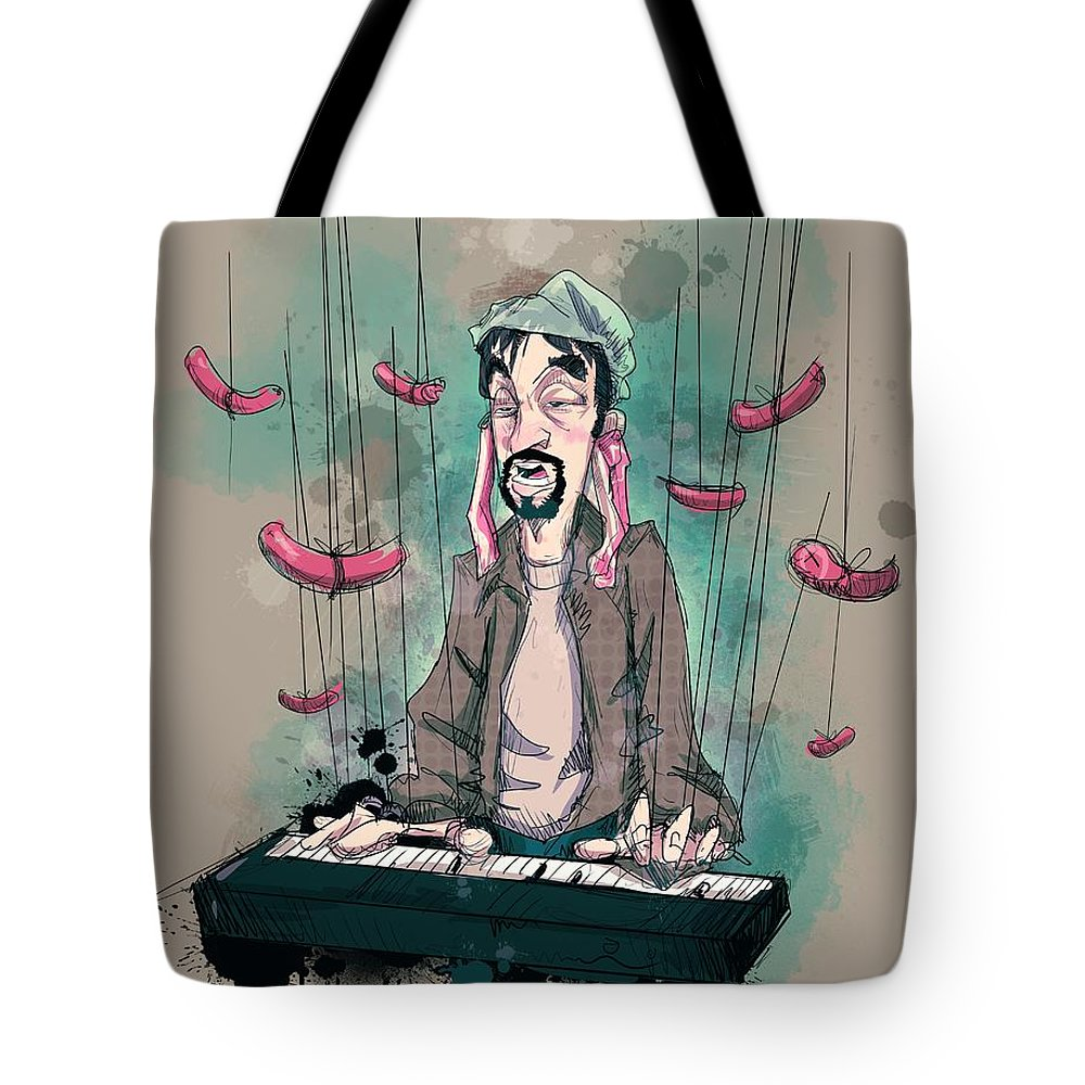 Tom Green Tote Bag featuring the drawing Daddy Would You Like Some Sausage by Ludwig Van Bacon