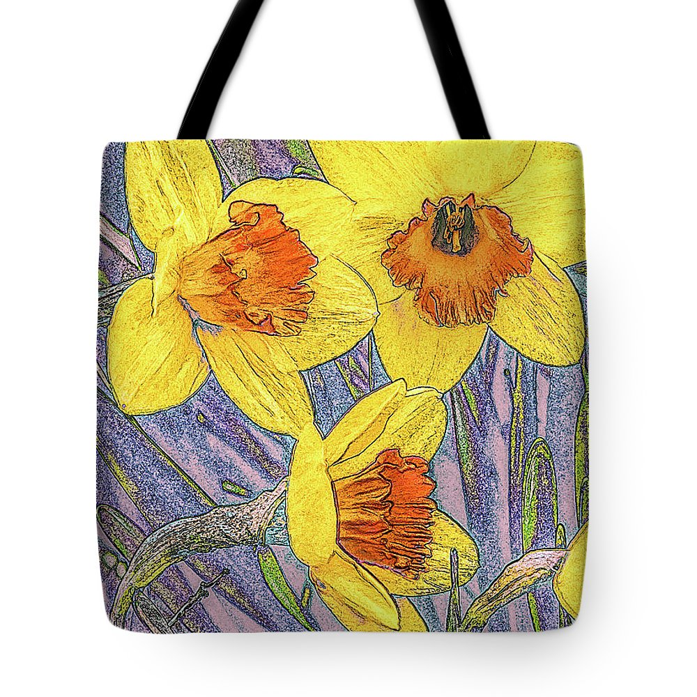 Flower Photographs Tote Bag featuring the photograph Daffodils by Joel Friedman