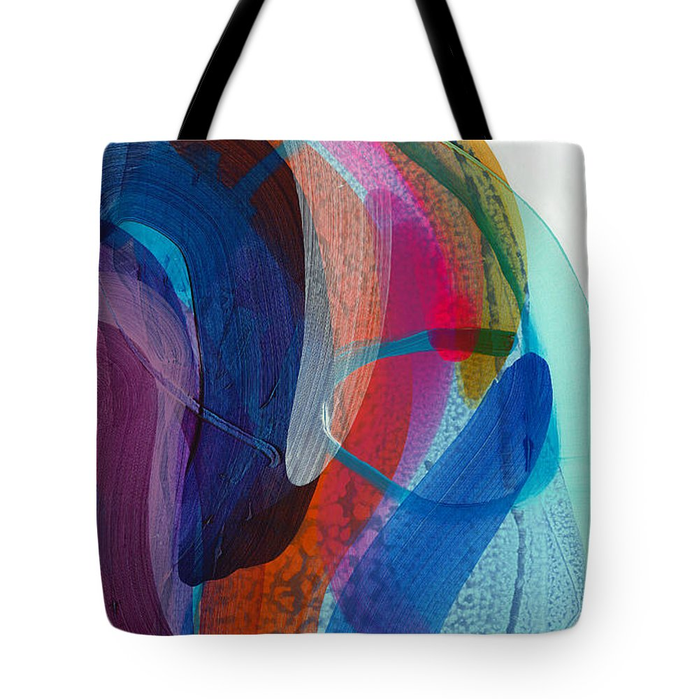 Abstract Tote Bag featuring the painting Dancing In The Kitchen by Claire Desjardins