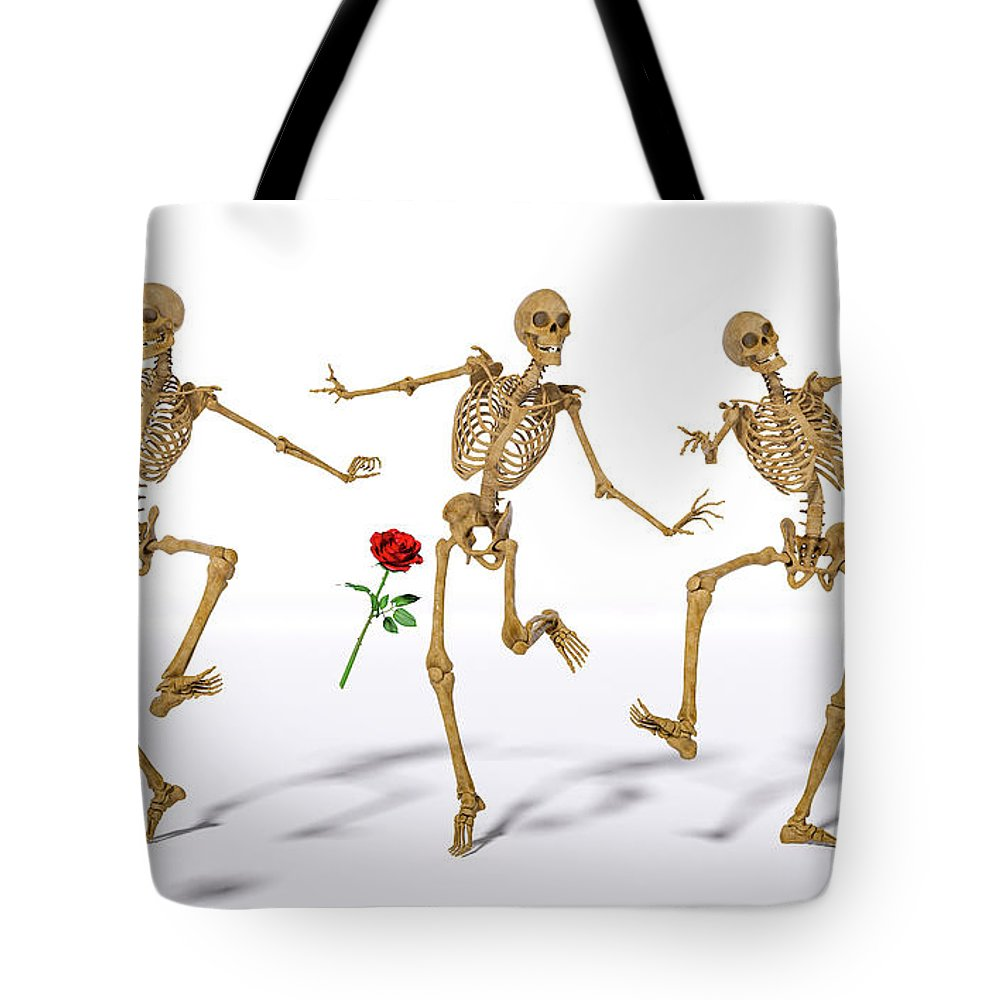 Dancing Tote Bag featuring the digital art Dancing Skeleton Trio by Betsy Knapp