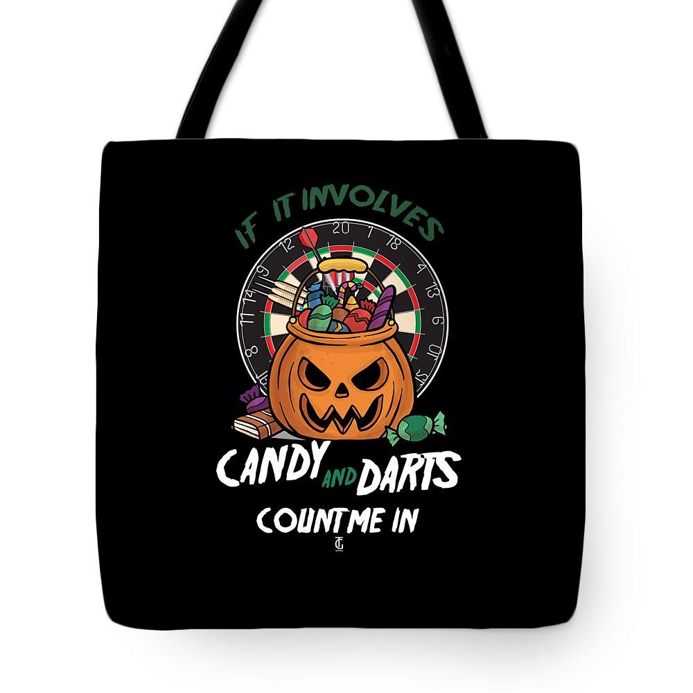 Candy Tote Bag featuring the digital art Darts Dart Pumpkin Jack O Lantern Halloween by Thomas Larch