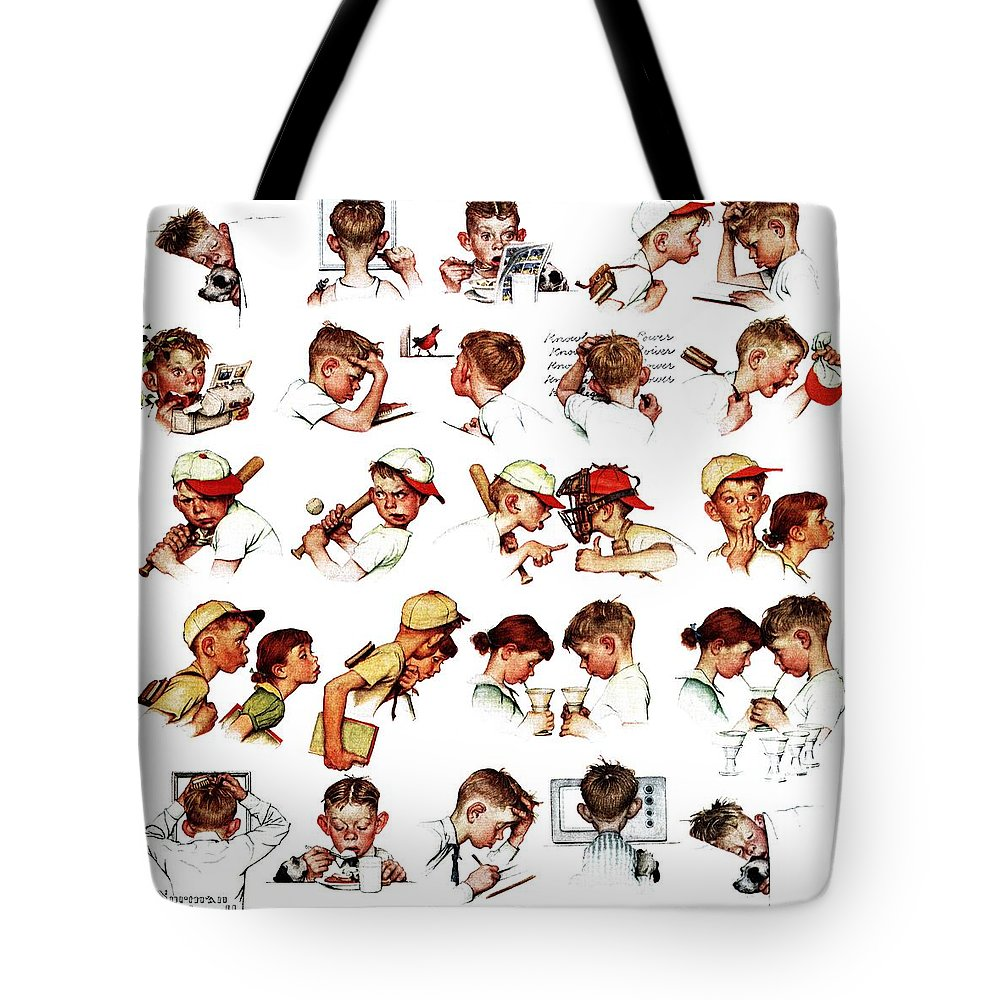 Baseball Tote Bag featuring the drawing Day In The Life Of A Boy by Norman Rockwell