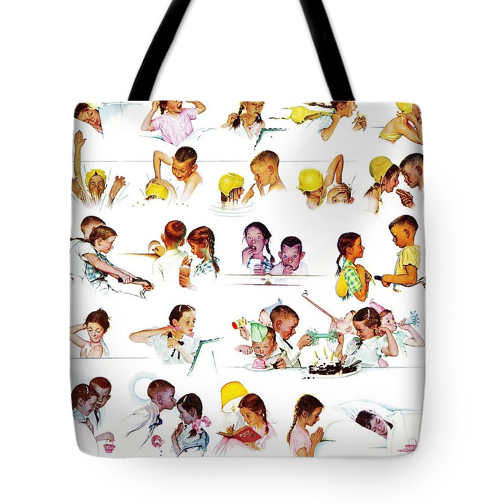 Birthdays Tote Bag featuring the drawing Day In The Life Of A Girl by Norman Rockwell