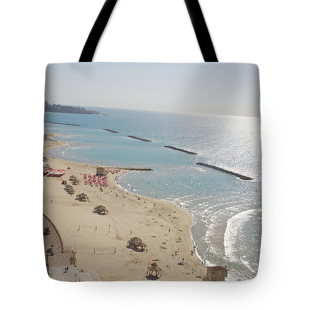 Tranquility Tote Bag featuring the photograph Day View Of Tel Aviv Promenade And Beach by Barry Winiker