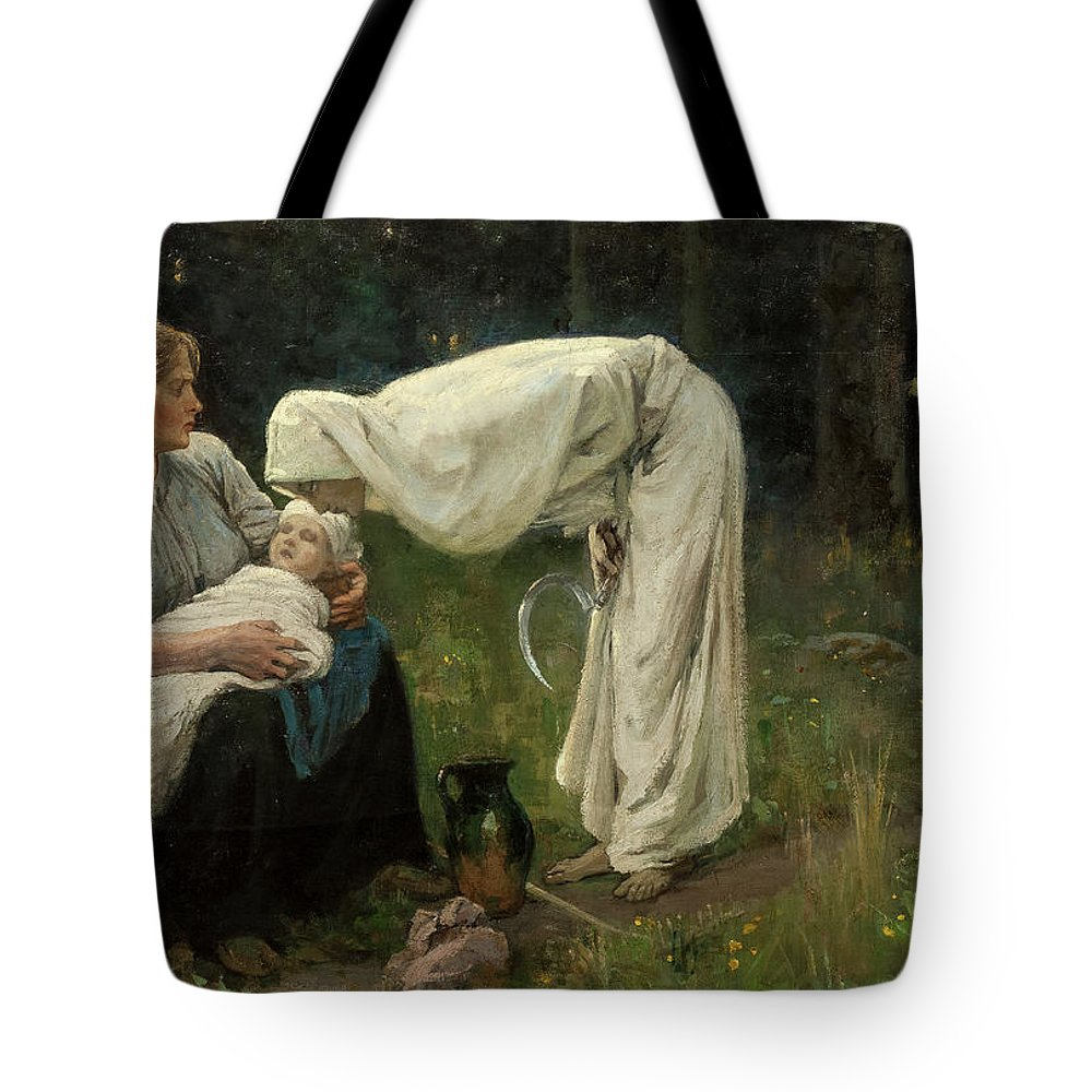 Janis Rozentals Tote Bag featuring the painting Death, 1897 by Janis Rozentals