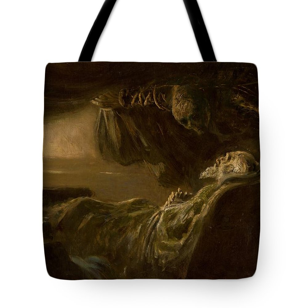 Death Tote Bag featuring the painting Death Of The Old Man by Ladislav Mednyanszky