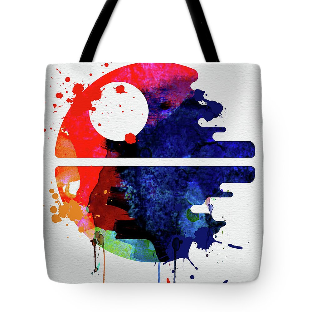 Death Star Tote Bag featuring the mixed media Death Star Watercolor Cartoon by Naxart Studio