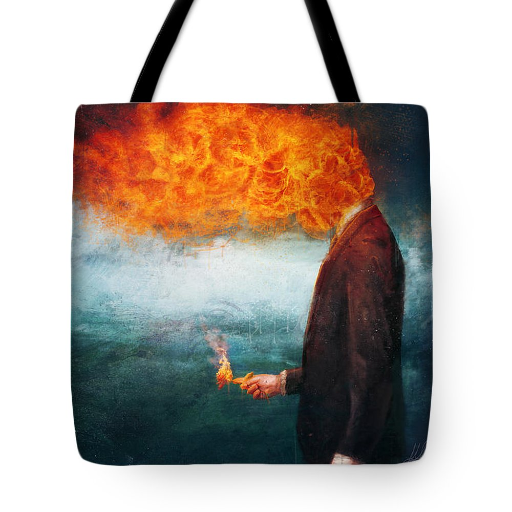 Fire Tote Bag featuring the painting Deep by Mario Sanchez Nevado