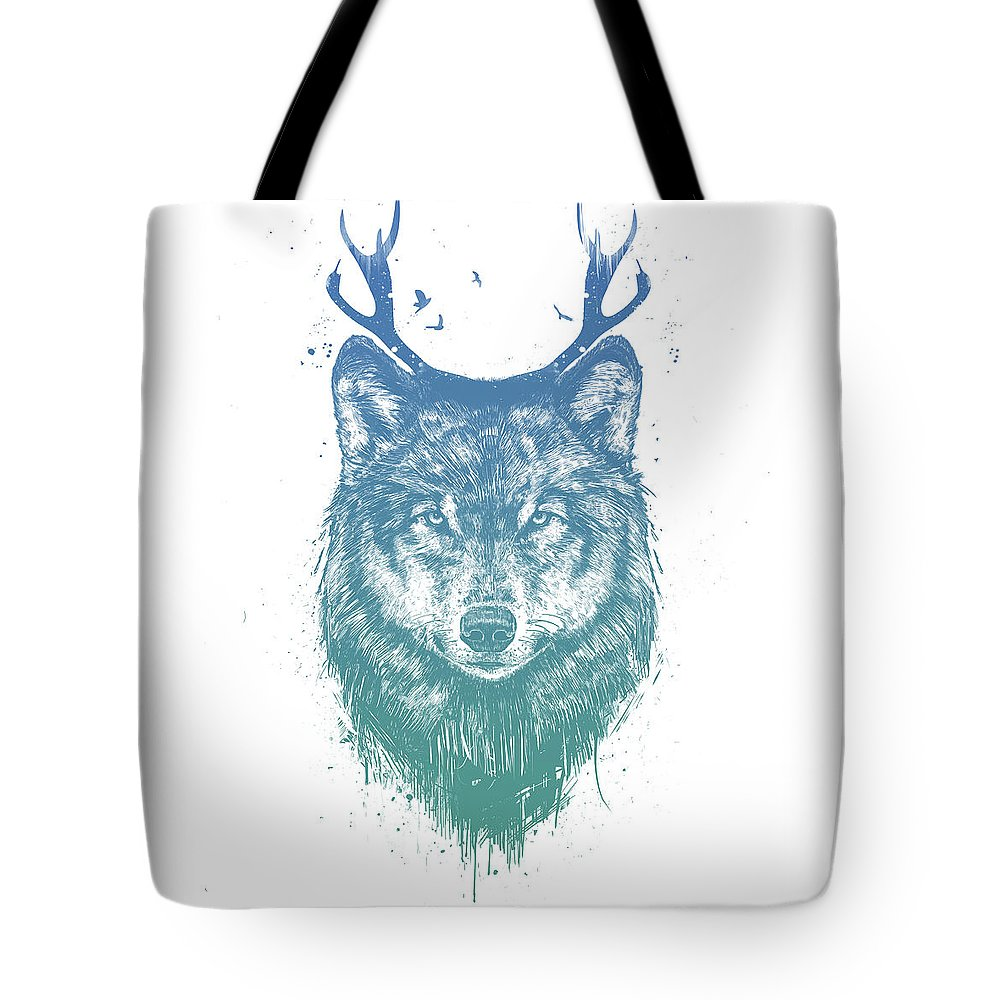 Wolf Tote Bag featuring the mixed media Deer wolf by Balazs Solti
