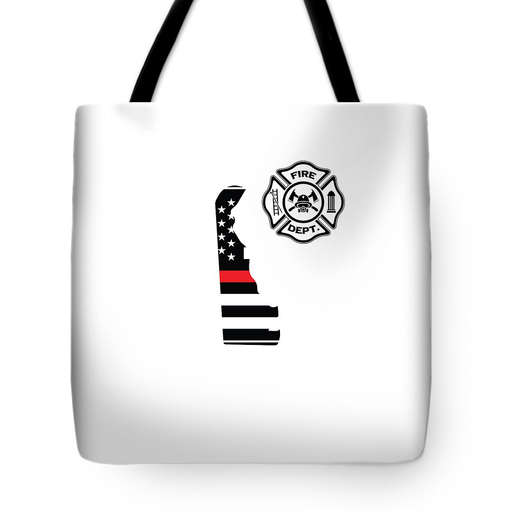 Firefighter-appreciation Tote Bag featuring the digital art Delaware Firefighter Shield Thin Red Line Flag by The French Seller