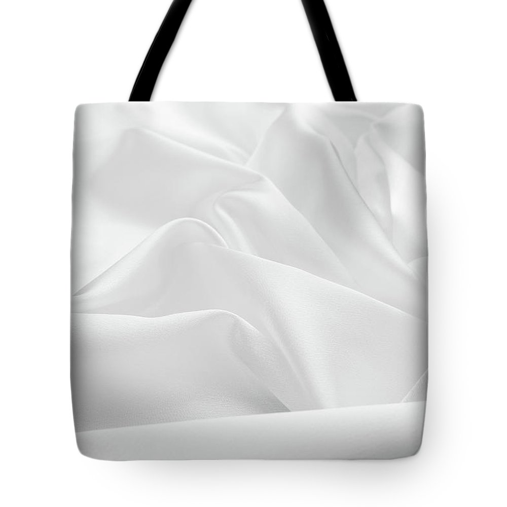 Curve Tote Bag featuring the photograph Delicate White Satin Silk Background by Narcisa