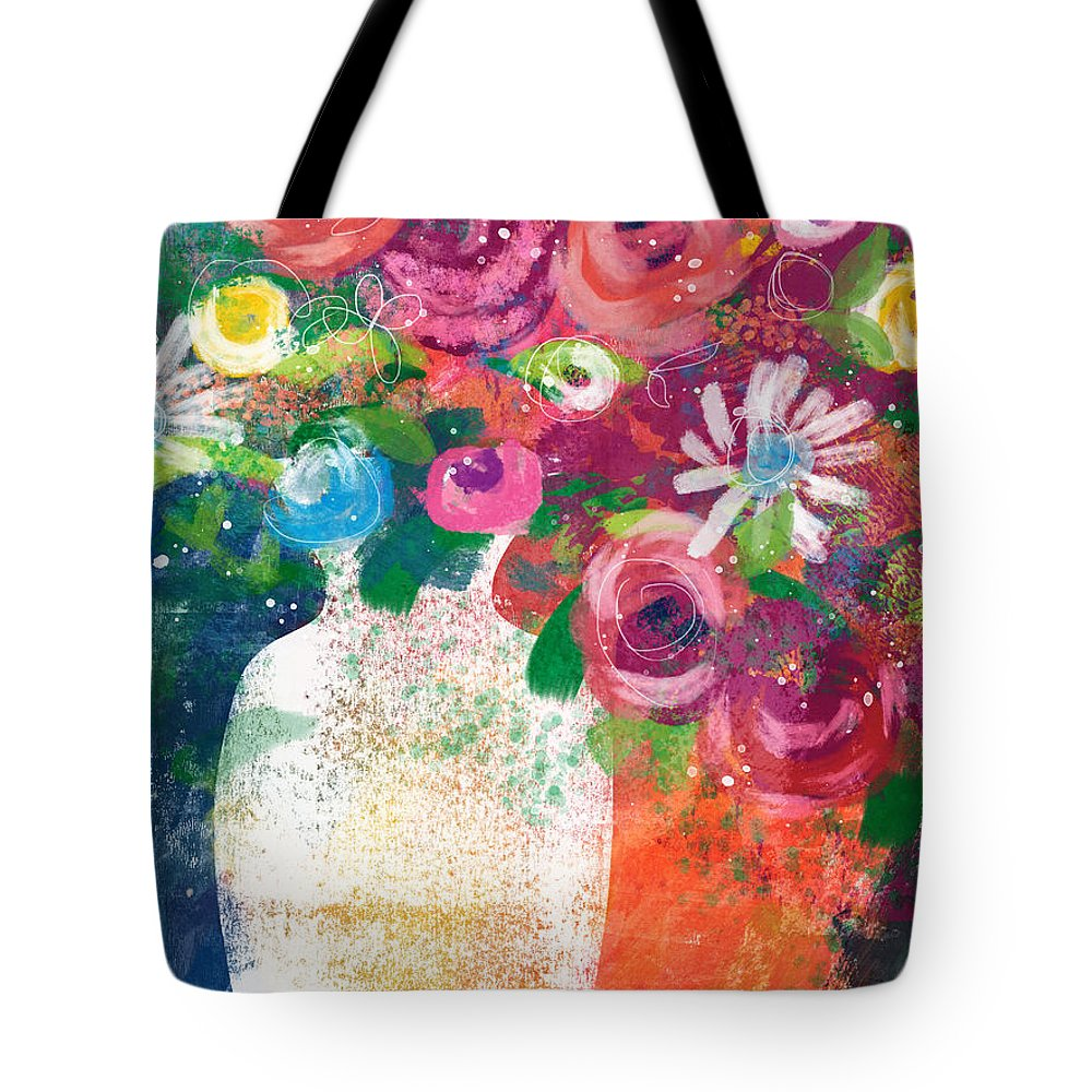 Floral Tote Bag featuring the mixed media Delightful Bouquet 2- Art By Linda Woods by Linda Woods