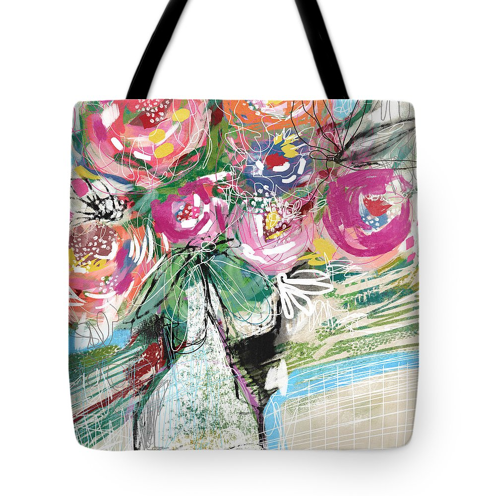 Roses Tote Bag featuring the mixed media Delightful Bouquet 3- Art By Linda Woods by Linda Woods