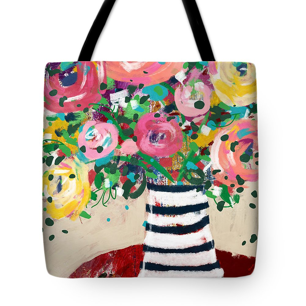 Flowers Tote Bag featuring the mixed media Delightful Bouquet 5- Art By Linda Woods by Linda Woods