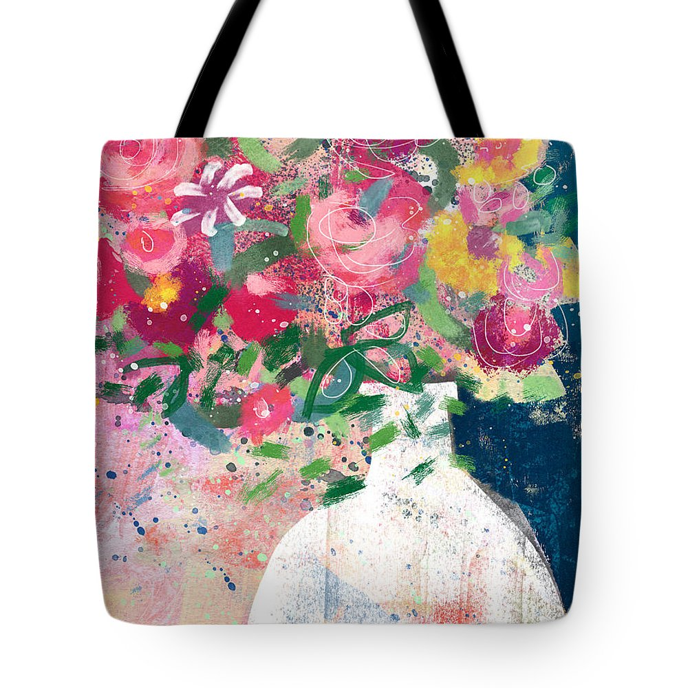 Floral Tote Bag featuring the mixed media Delightful Bouquet- Art By Linda Woods by Linda Woods