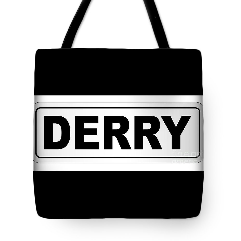 Derry Tote Bag featuring the digital art Derry City Nameplate by Bigalbaloo Stock