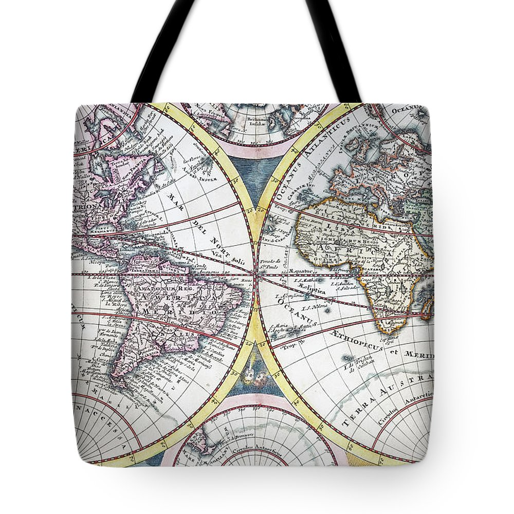 Engraving Tote Bag featuring the digital art Detail Copper Engraving Of World Map by Grafissimo