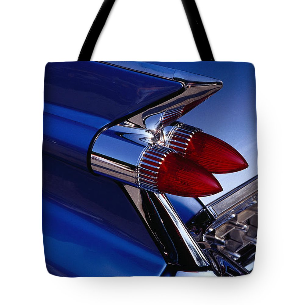 Silver Colored Tote Bag featuring the photograph Detail Of An American Cadillac, Eze by Richard I'anson