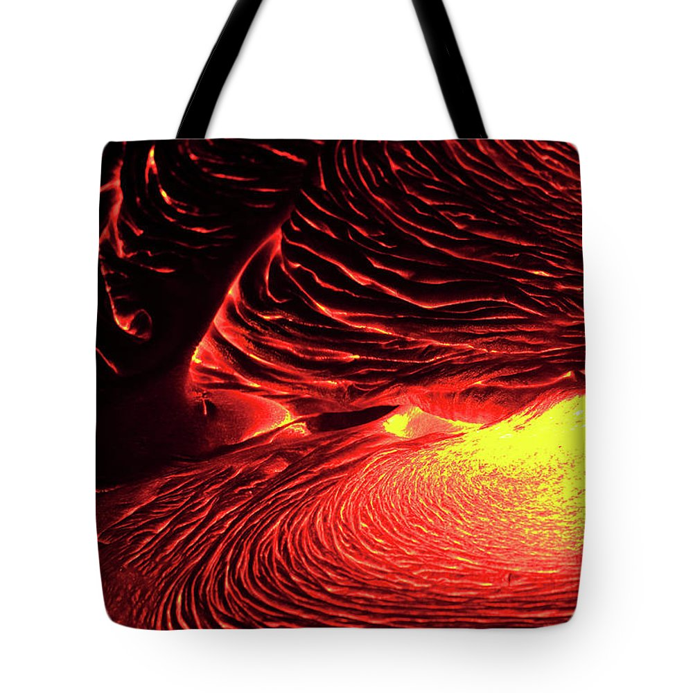 Hawaii Volcanoes National Park Tote Bag featuring the photograph Detail Of Flowing Lava, Hawaii by Mint Images/ Art Wolfe