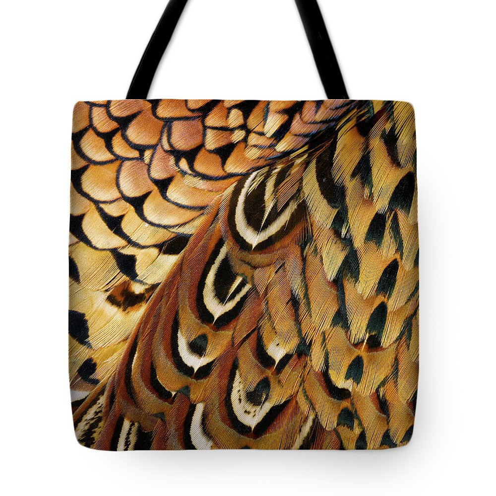 Orange Color Tote Bag featuring the photograph Detail Of Pheasant Feathers by Jeffrey Coolidge