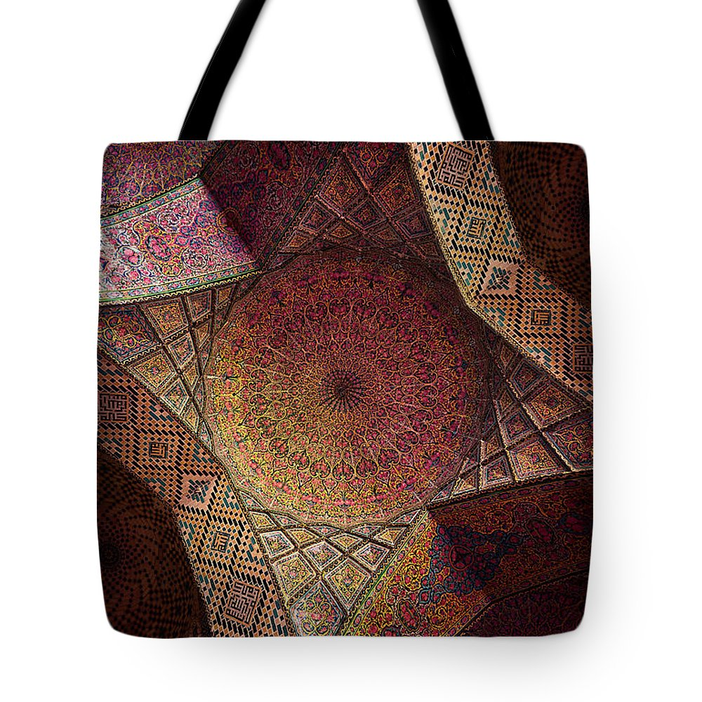 East Tote Bag featuring the photograph Detail Of The Ceiling Tilework by Len4foto