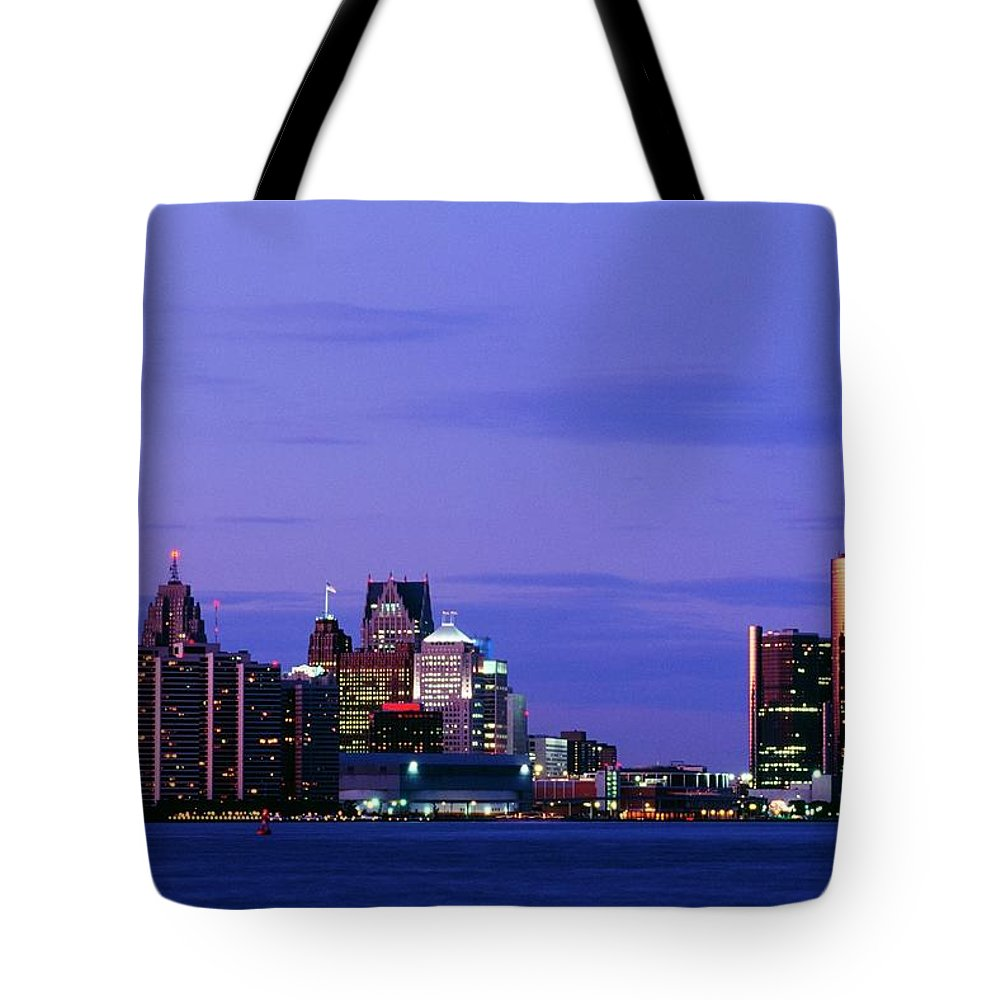 Downtown District Tote Bag featuring the photograph Detroit Skyline At Night In Usa by Design Pics