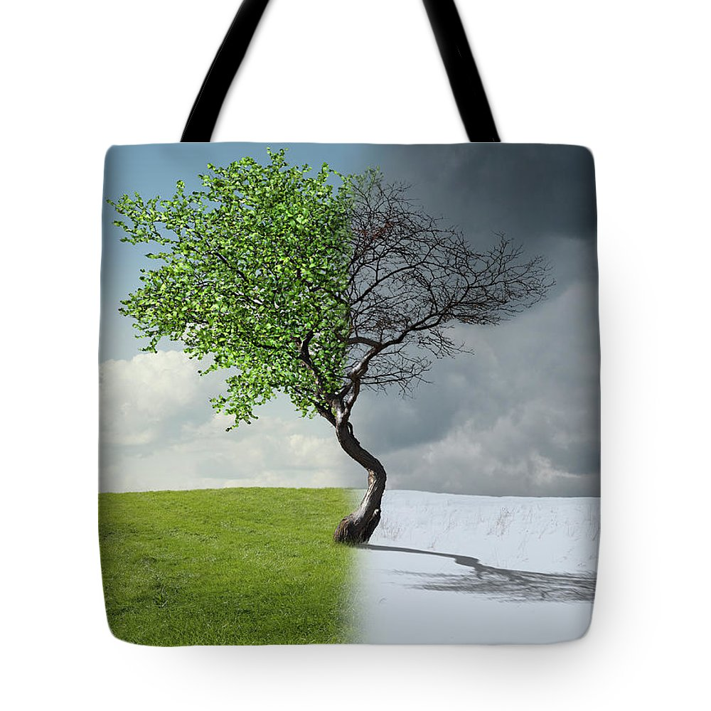 Snow Tote Bag featuring the photograph Digital Illustration Of Half Winter by Chris Clor