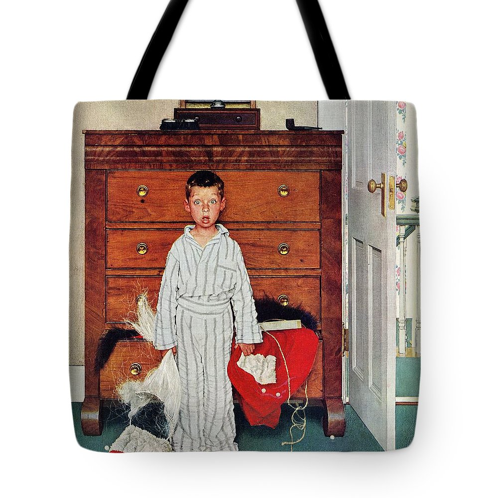 Bedrooms Tote Bag featuring the drawing Discovery by Norman Rockwell