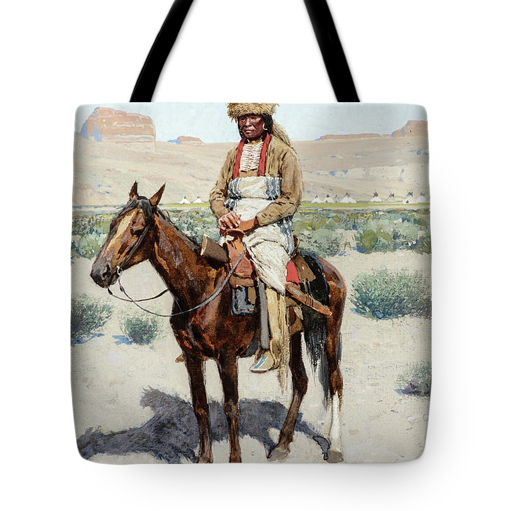 Henry Farny Tote Bag featuring the painting Distant Village, 1890 by Henry Farny