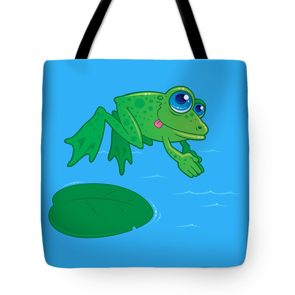 Vector Drawing Of A Cute Frog Diving Off Of A Lily Pad Into Water. Drawn In A Humorous Cartoon Style. Tote Bag featuring the digital art Diving Frog by John Schwegel