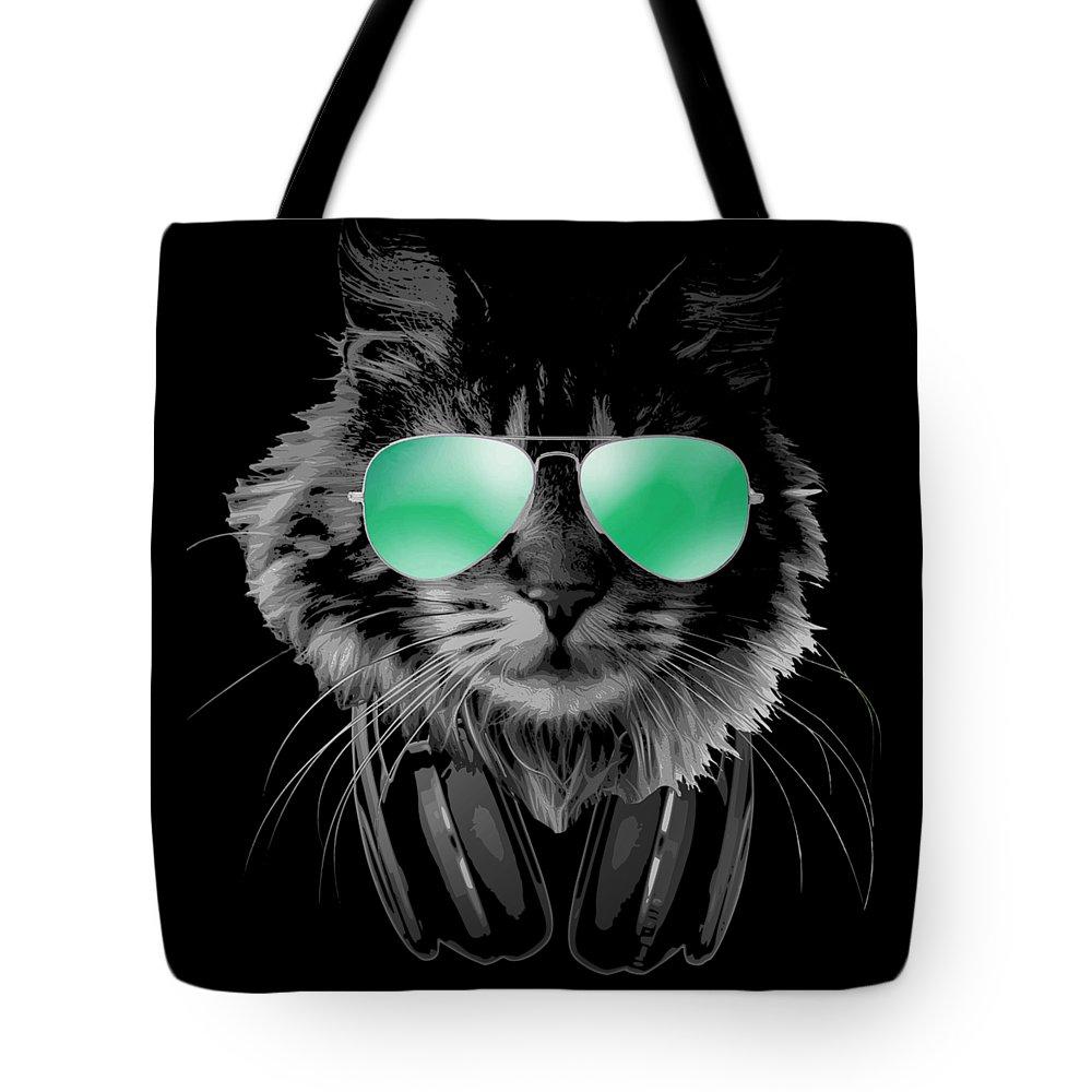 Cat Tote Bag featuring the digital art Dj Furry Cat by Filip Schpindel