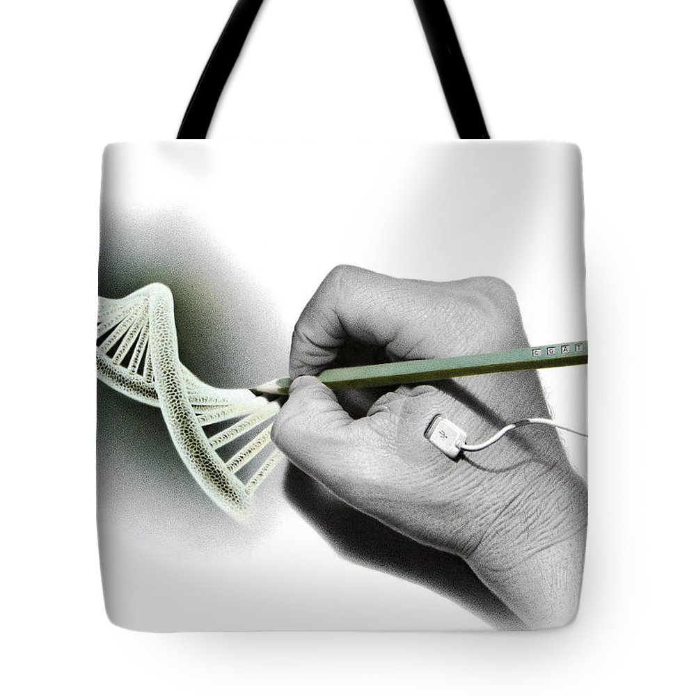Technology Tote Bag featuring the drawing Dna Goes Hi-tech by Stirring Images