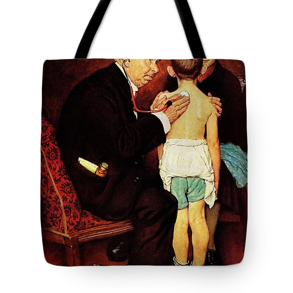 Doctor Tote Bag featuring the drawing Doc Melhorn And The Pearly Gates by Norman Rockwell